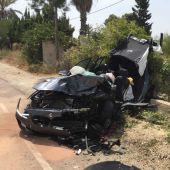 Estado en el que quedó uno de los coches implicados en el accidente.