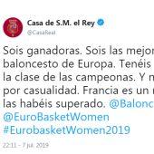 Tuit del rey felicitando a la selección española de baloncesto femenino