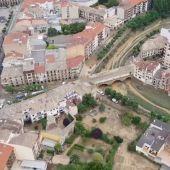 Imágenes aéreas de Tafalla (Navarra) tras las inundaciones
