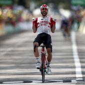 Thomas de Gendt celebra el triunfo de etapa en el Tour de Francia