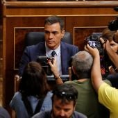 Pedro Sánchez, a su llegada este jueves al Congreso para asistir a la segunda y definitiva votación de investidura