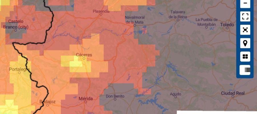 Mapa de Incendios Forestales Extremadura