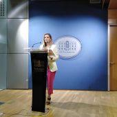 La diputada de Ciudadanos en el Parlament Balear en una rueda de prensa.