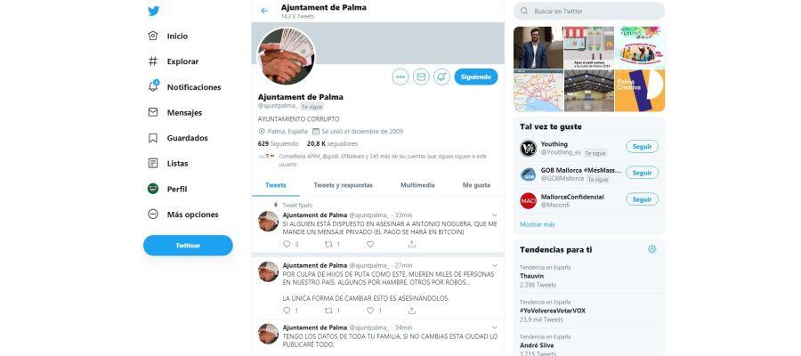Hackean la cuenta oficial de Twitter del Ayuntamiento de Palma para amenazar a Antoni Noguera