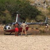 Helicóptero en un paraje no autorizado del Torrent de Pareis, en la Serra de Tramuntana