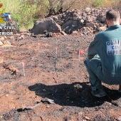 La Guardia Civil investiga un incendio forestal en Soneja