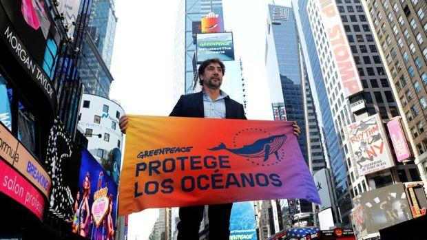 Javier Bardem, en Times Square.