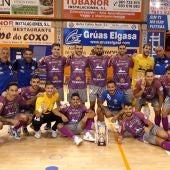 El Palma Futsal en Galicia, tras su victoria ante el Noia.