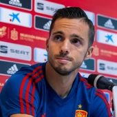 Pablo Sarabia, en la rueda de prensa de la selección española