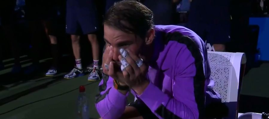 Rafa Nadal se emociona al ver el vídeo homenaje del US Open