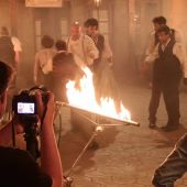 Así se grabó la escena del incendio que cierra toda una temporada de 'El secreto de Puente Viejo'