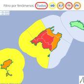 Mapa de la AEMET con los avisos meteorológicos activados en Baleares