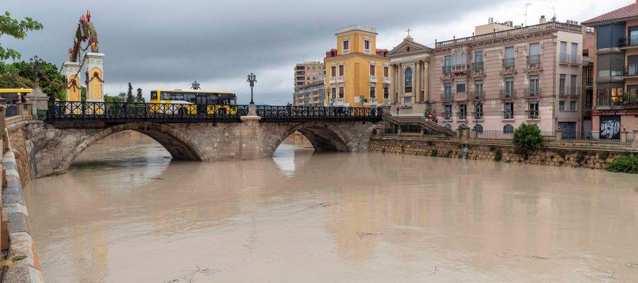 El cauce del rio Segura a su paso por el puente viejo en la ciudad de Murcia
