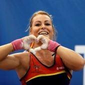 Lydia Valentín, durante una competición