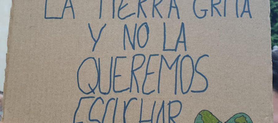 Pancarta en la manifestación de la Huelga por el clima celebrada en Elche.