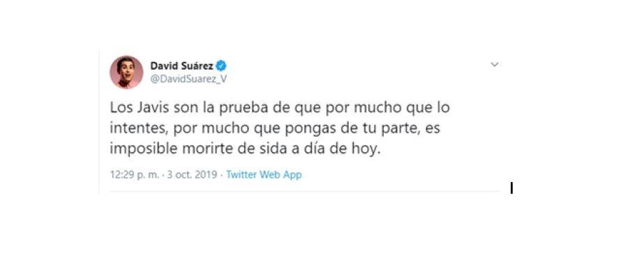 Tuit ofensivo del humorista David Suárez.