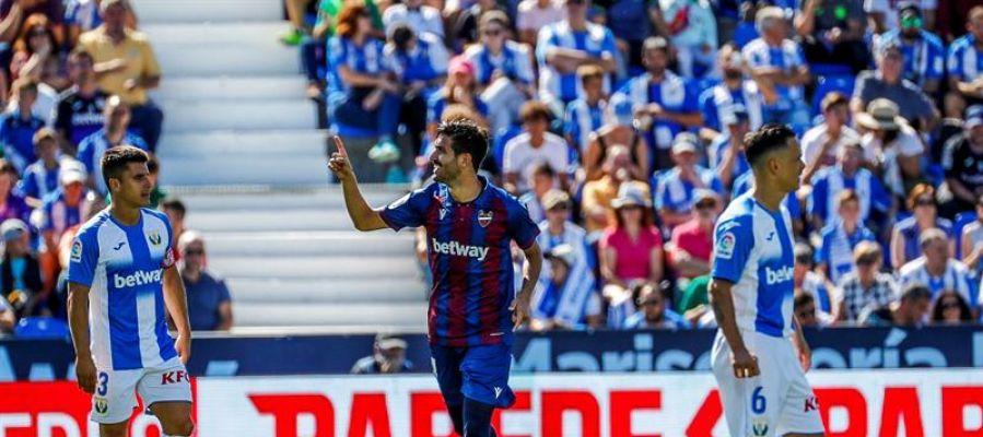 Campaña celebra el gol ante el Leganés