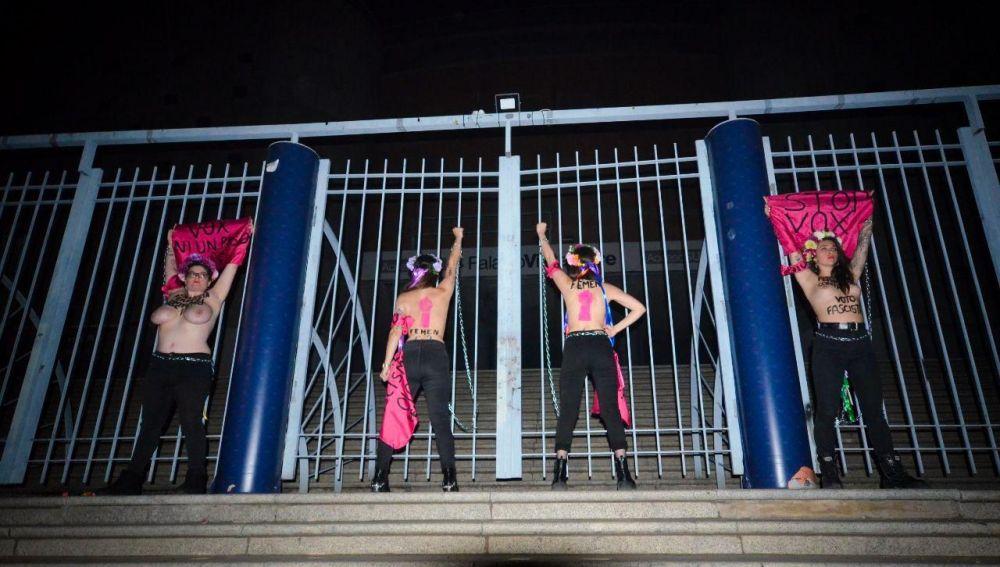 Las cuatro activistas de Femen en Vistalegre