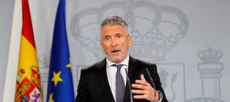 El ministro de Interior en funciones, Fernando Grande - Marlaska, durante su comparecencia de prensa