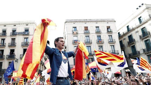 Albert Rivera en una movilización en Barcelona