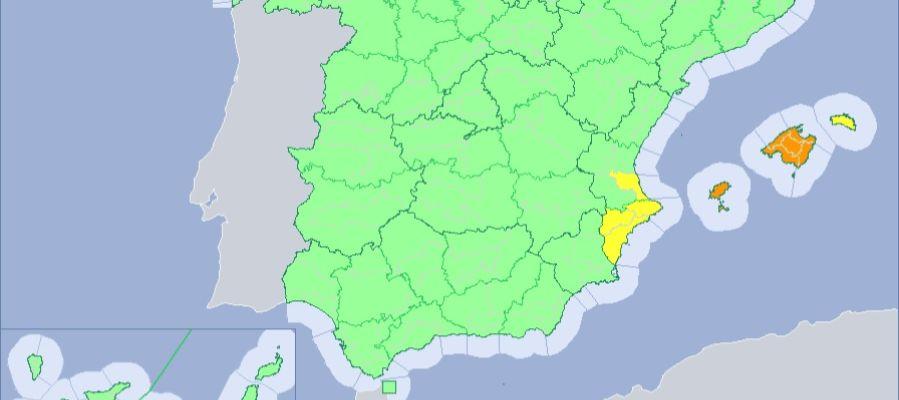 Mapa alertas meteorológicas de la Aemet.