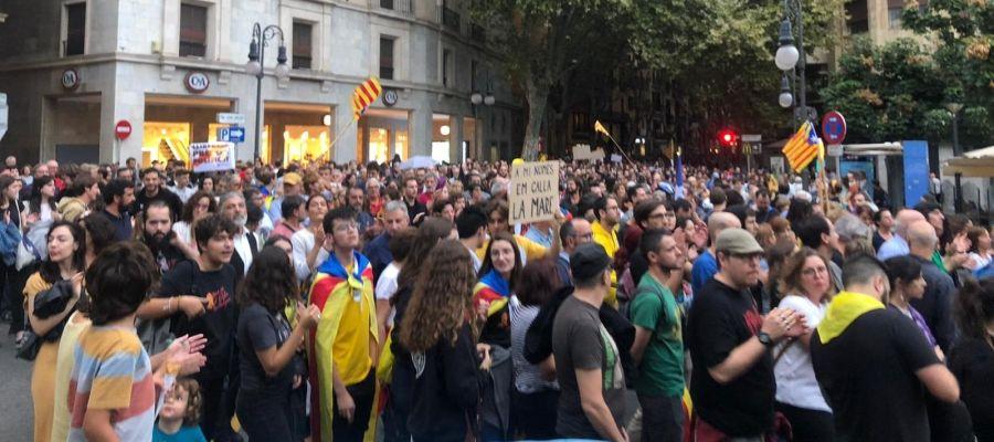 Momento de la manifestación en Palma convocada por la OCB contra la sentencia del procès.