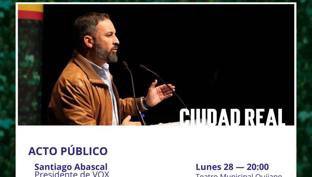 Santiago Abascal estará en Ciudad Real el lunes 28 de octubre