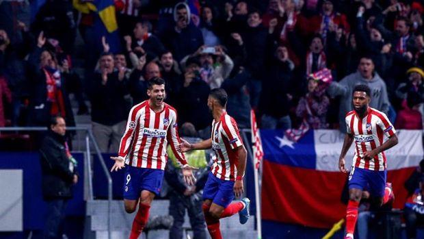Álvaro Morata celebra el tanto ante el Leverkusen