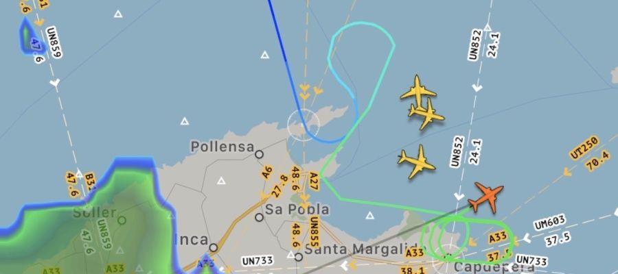 La DANA provoca el desvío de vuelos con destino a Baleares.