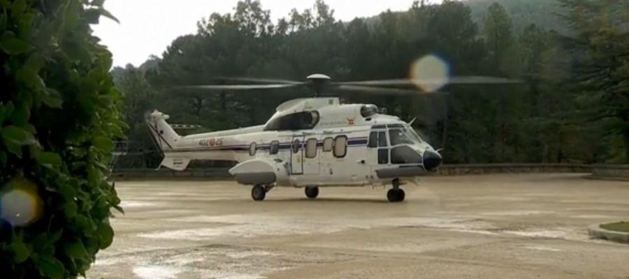 Uno de los helicópteros encargado de trasladar los restos de Franco