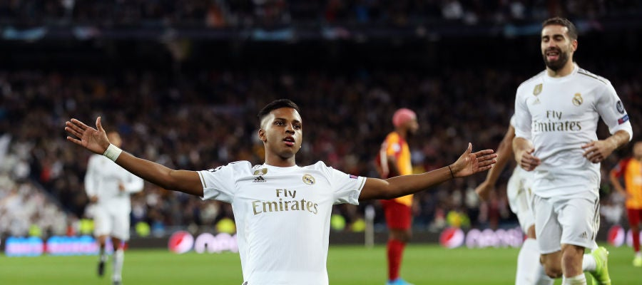 Rodrygo celebra un gol ante el Galatasaray