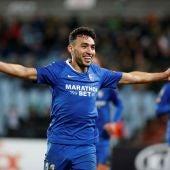 Munir celebra uno de sus tres goles
