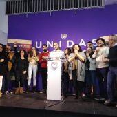 Representantes de Unidas Podemos en Baleares celebrando los resultados del 10-N.
