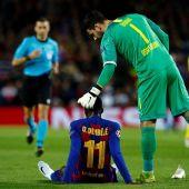 Ousman Dembélé se retiró lesionado ante el Borussia Dortmund