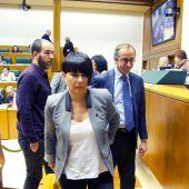 La portavoz de EH Bildu, Maddalen Iriarte (c), y el portavoz popular, Alfonso Alonso en el Parlamento Vasco