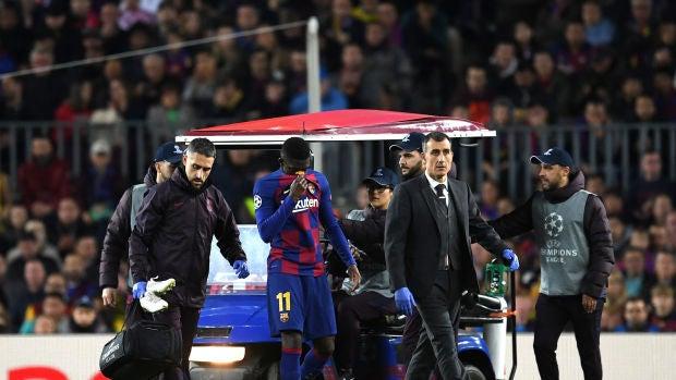 Dembélé lesionado en el partido contra el Borussia