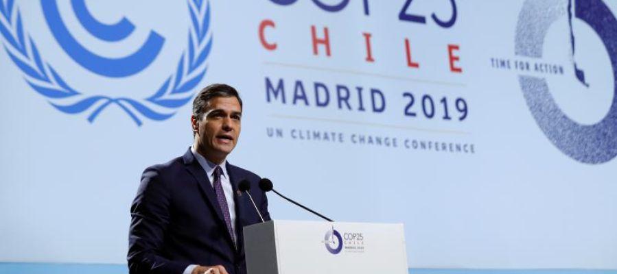 Pedro Sánchez durante su intervención en la Cumbre del Clima de Madrid