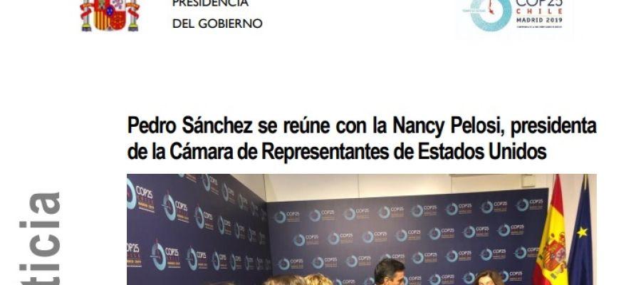 """La errata en el titular del Gobierno que reúne a Sánchez con """"la Nancy Pelosi"""""""