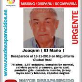 Joaquín lleva desaparecido desde el 19 de noviembre