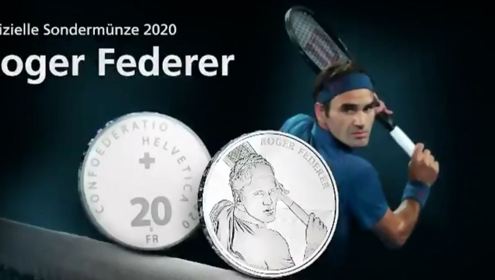Suiza acuña monedas con la cara de Federer