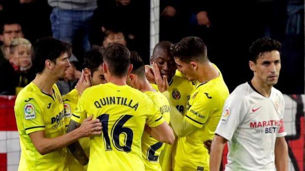 El Villarreal celebra uno de sus goles ante el Sevilla