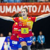 Lara González, en un partido de la Selección española de balonmano en el Mundial de Japón.