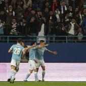 Jugadores celebran un gol durante la SuperCopa italiana