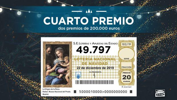 El 49.797 segundo cuarto premio de la Lotería de Navidad