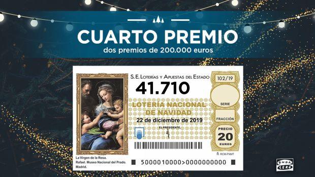 El 41.710 primer cuarto premio de la Lotería de Navidad