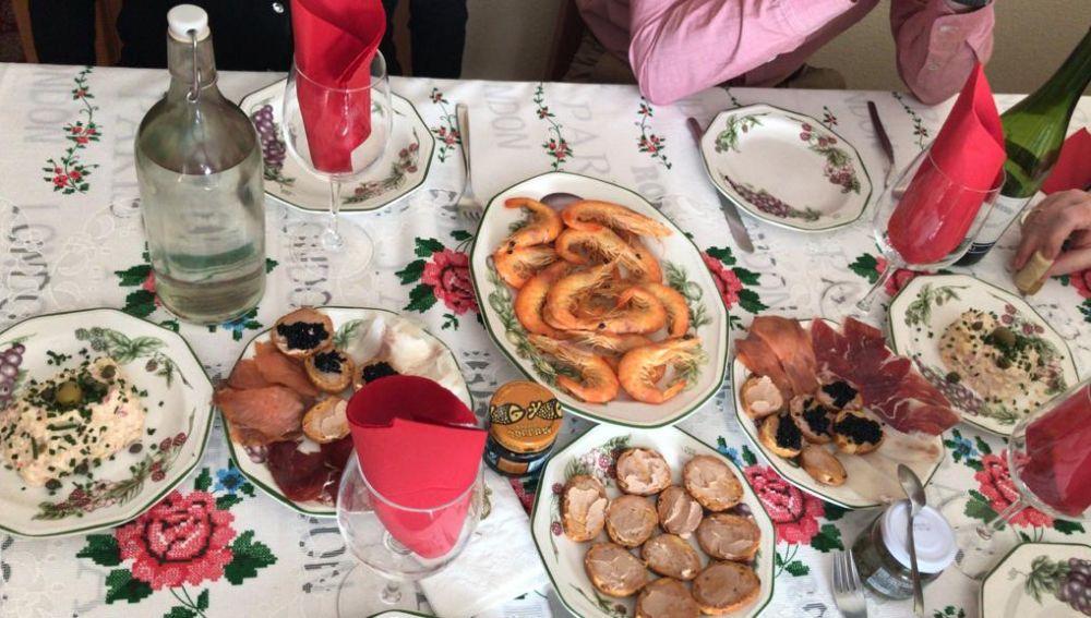 Cena de Nochebuena de una familia