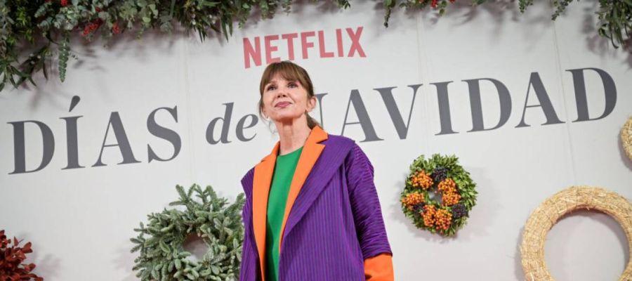 La actriz Victoria Abril, en el photocall de presentación de la serie 'Días de Navidad'