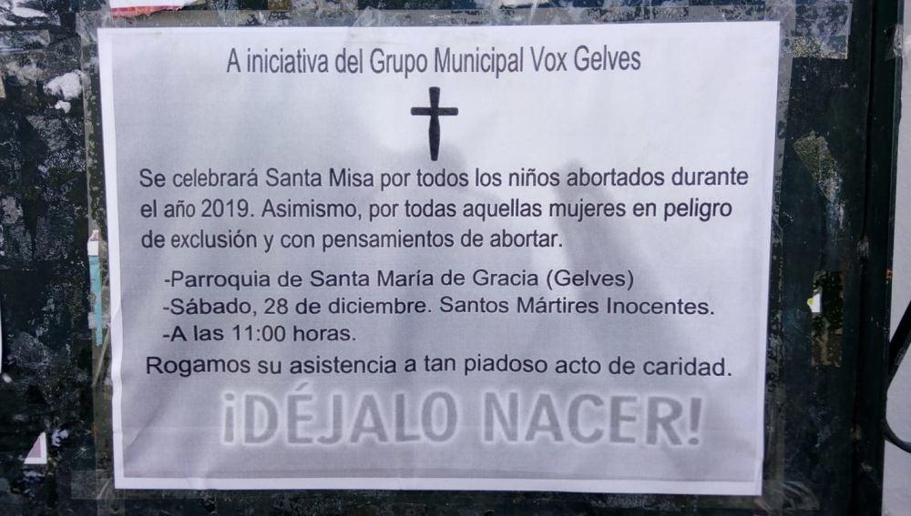 El cartel que ha difundido Vox sobre la misa en contra del aborto