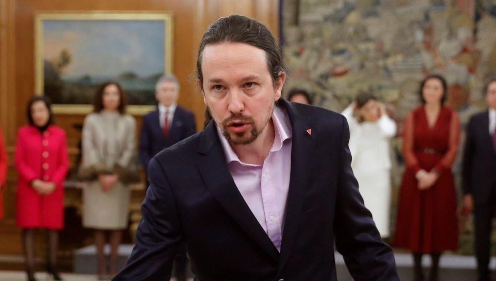 Pablo Iglesias durante su toma de posesión