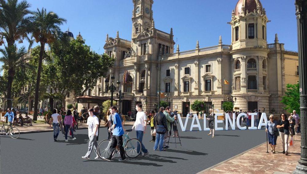 Simulación de la peatonalización de la plaza del Ayuntamiento